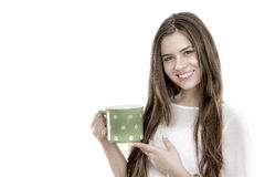 Beautiful young woman with cup of coffee Stock Photo