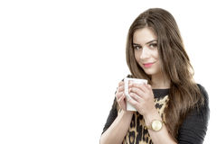 Beautiful young woman with cup of coffee Royalty Free Stock Photography