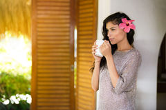 Beautiful young woman with a cup of coffee Royalty Free Stock Images