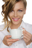 Beautiful young woman with cup in her hand Royalty Free Stock Photos