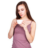 Beautiful young woman with cup of hot drink Royalty Free Stock Photo