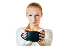 Beautiful young woman with cup of tea. Portrait of beautiful young woman with cup of tea, isolated on white Stock Images