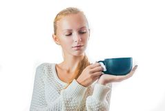 Beautiful young woman with cup of tea. Portrait of beautiful young woman with cup of tea, isolated on white Stock Photo