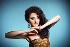 Beautiful young woman with curly hair Royalty Free Stock Image