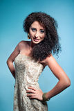 Beautiful young woman with curly hair Stock Photo