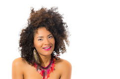 Beautiful young woman with curly short hair Stock Photos