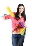 Beautiful young woman decorator Stock Photo