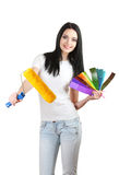 Beautiful young woman decorator. Over the white Stock Photos