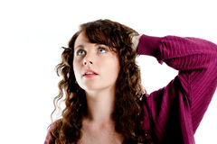 Beautiful young woman deep in thought Royalty Free Stock Photos