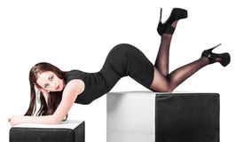 Young woman posing in studio Royalty Free Stock Photos