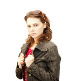 Beautiful young woman in a denim jacket Royalty Free Stock Photography