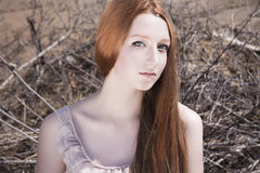 Beautiful young woman in desert Royalty Free Stock Photo