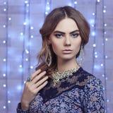 Beautiful young woman.diamonds Stock Photos