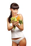 Beautiful young woman dieting Royalty Free Stock Image