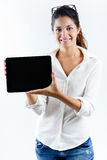 Beautiful young woman with digital tablet Royalty Free Stock Images