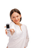 Beautiful young woman displaying a cellphone Stock Photo
