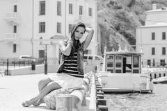 Beautiful young woman on the docks Royalty Free Stock Images
