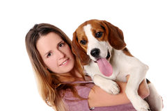 Beautiful young woman with dog Stock Photos
