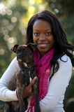 Beautiful Young Woman with Dog Royalty Free Stock Photo