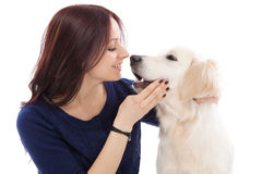 Beautiful young woman with a dog Royalty Free Stock Images