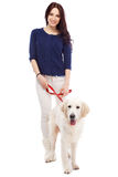 Beautiful young woman with a dog Stock Images