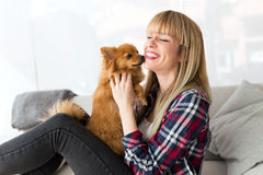 Beautiful young woman with dog playing at home. Stock Photo
