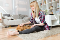 Beautiful young woman with dog playing at home. Royalty Free Stock Image