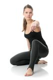 Beautiful young woman doing exercise Stock Images