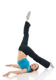 The beautiful young woman doing exercise isolated Royalty Free Stock Image