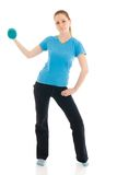 The beautiful young woman doing exercise isolated Stock Photos