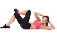 Beautiful young woman doing exercises Stock Photography