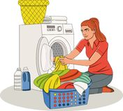 Beautiful young woman doing laundry at home. Woman putting laundry in washing machine stock illustration
