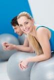 Beautiful young woman doing Pilates Stock Photos