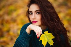 Beautiful young woman. Dramatic outdoor autumn portrait of sensual brunette female with long hair. Sad and serious girl. Stock Images
