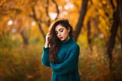 Beautiful young woman. Dramatic outdoor autumn portrait of sensual brunette female with long hair. Sad and serious girl. Stock Photography