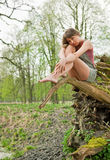 Beautiful young woman dreaming outdoors Royalty Free Stock Photos