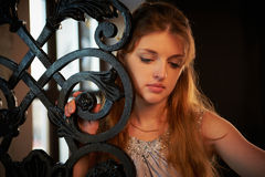 Beautiful Young Woman in Dress stock image