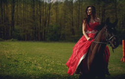 Beautiful young woman dressed medieval dress Stock Photography
