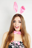 Woman dressed in a rabbit ears Stock Images