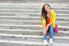 Beautiful young woman dressed stylish Royalty Free Stock Photo