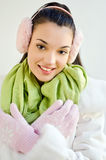Beautiful young woman dressed for winter season. Royalty Free Stock Image