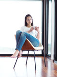 Beautiful young woman drink first morning coffee Royalty Free Stock Photo
