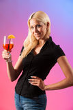Beautiful young woman drinking aperol spritz Royalty Free Stock Photography