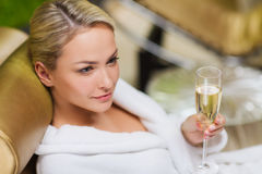 Free Beautiful Young Woman Drinking Champagne At Spa Royalty Free Stock Images - 48607569