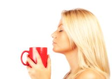 Beautiful young woman drinking coffee or tea Stock Image