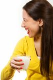 Beautiful young woman drinking milk Royalty Free Stock Image