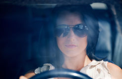 Beautiful Young Woman Driving Royalty Free Stock Images