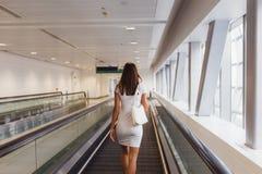 Beautiful young woman in Dubai metro, UAE royalty free stock photo