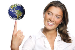 Beautiful young woman and the Earth Stock Photo