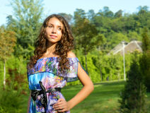 Beautiful young woman, from Eastern Europe, Romania posing and e. Beutiful young woman, from Eastern Europe, Romania, enjoying herself and beeing happy while Royalty Free Stock Photos